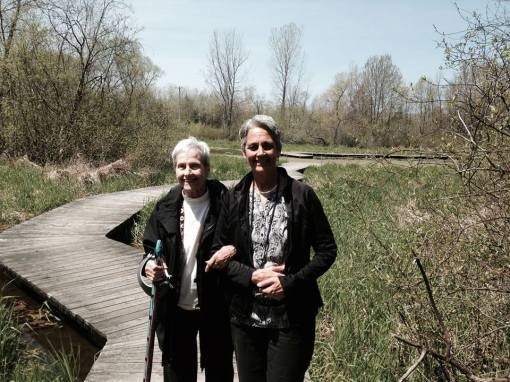 My mom and sister by the wetlands.