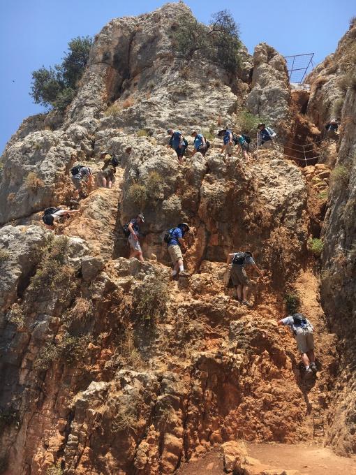 Yikes! Coming down Mt. Arbel. Photo: Hannah Cranny