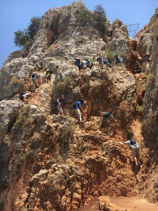 Yikes! Coming down Mt. Arbel. Photo: Hannah Cranny