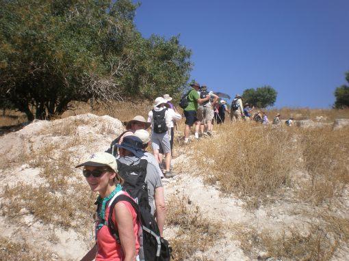 Hiking up Tel Azekak